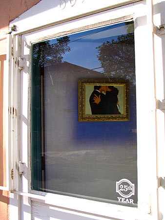 canyon road gallery window, santa fe, new mexico, august 1, 2003.