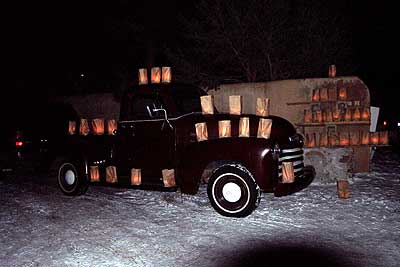 farolitos on old chevy, december 24, 2002.
