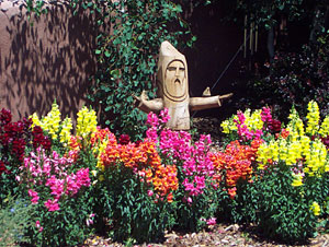 snapdragons and st. francis, santa fe, new mexico, june 12, 2003.