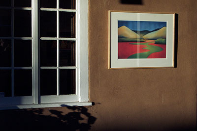 canyon road, art hung outside a gallery.