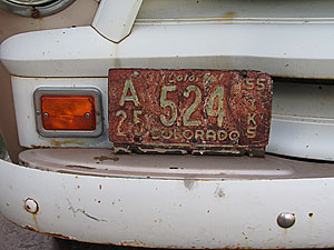 old license plate, santa fe, new mexico, august 8, 2003.