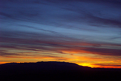 sunset from the eldorado wilderness, january 14, 2003.