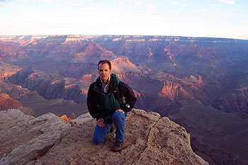 on a ledge, defying darwin, just west of mather point, 6:30-ish in the a.m.